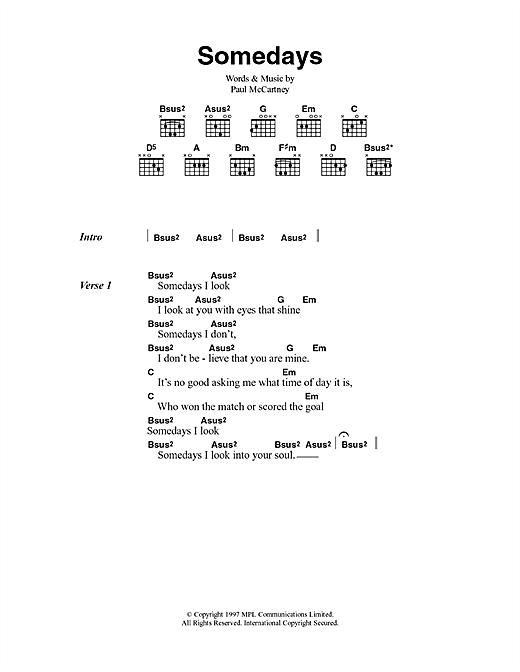 Somedays sheet music