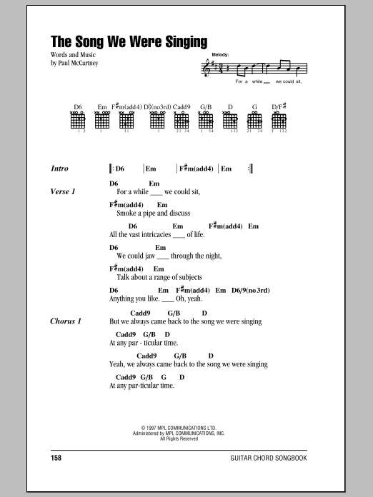 The Song We Were Singing sheet music