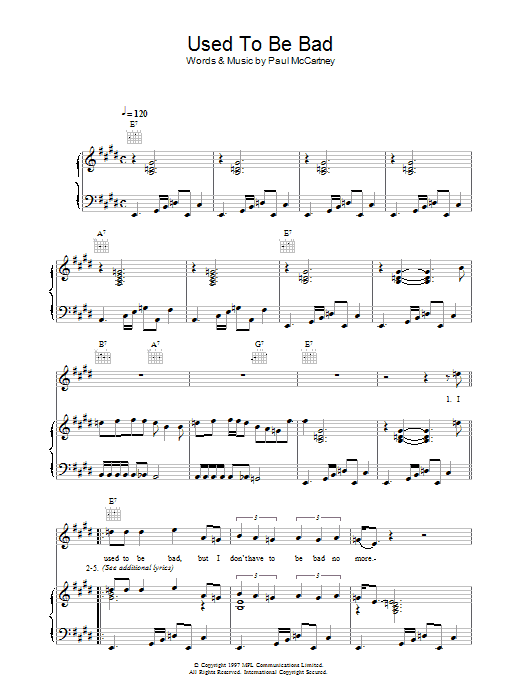 Used To Be Bad sheet music