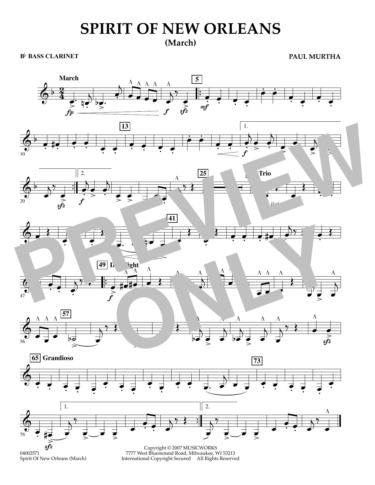 Spirit Of New Orleans (March) - Bb Bass Clarinet sheet music