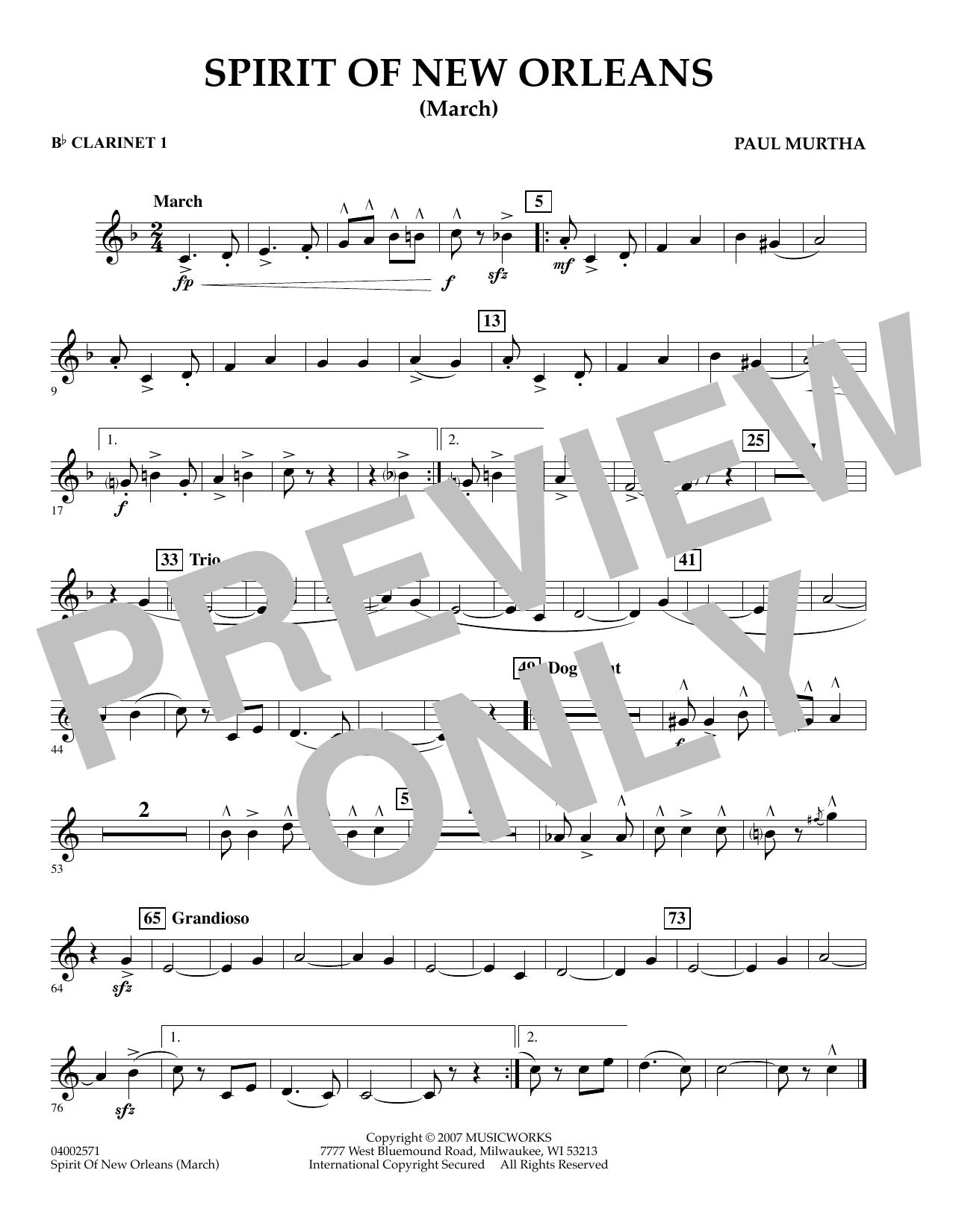 Spirit Of New Orleans (March) - Bb Clarinet 1 sheet music