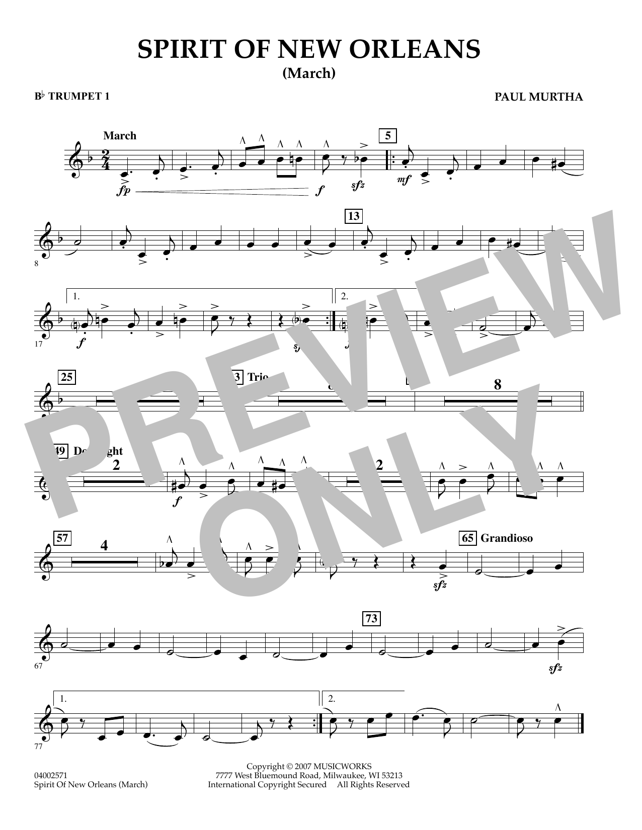 Spirit Of New Orleans (March) - Bb Trumpet 1 sheet music
