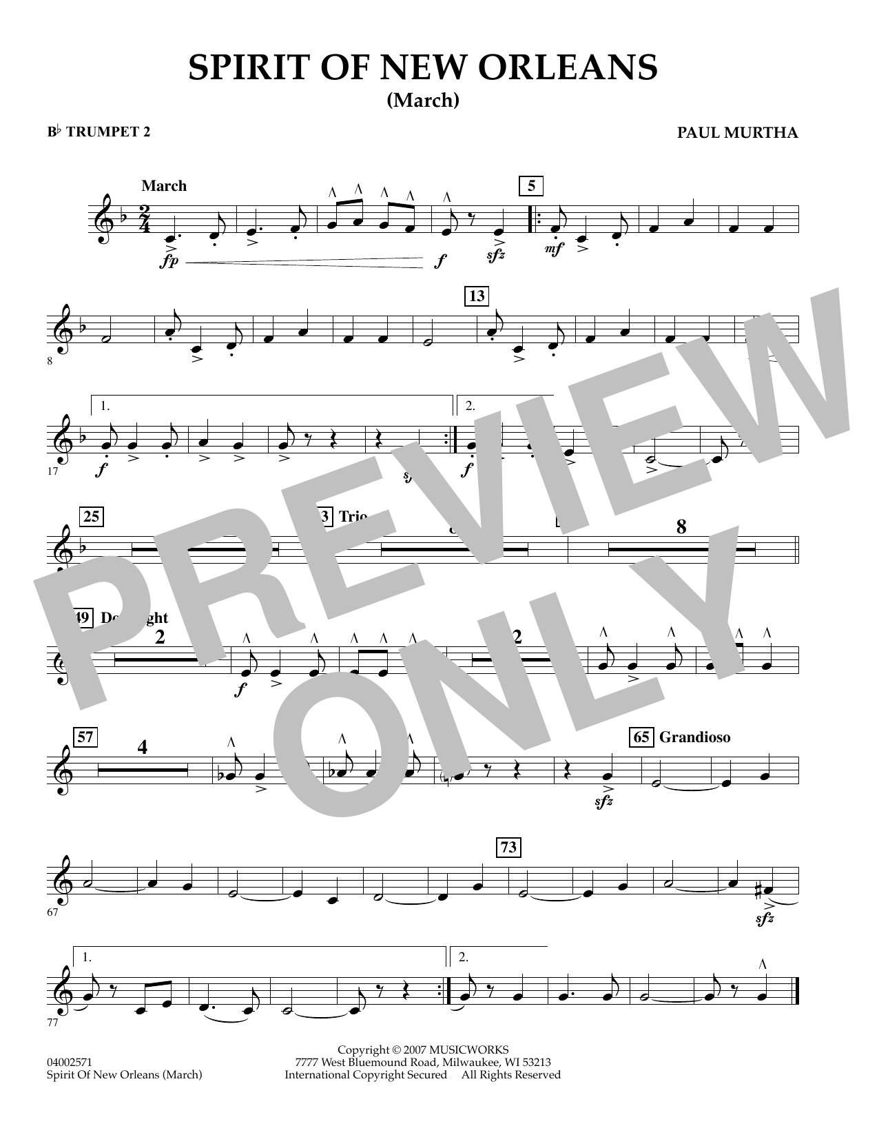 Spirit Of New Orleans (March) - Bb Trumpet 2 sheet music