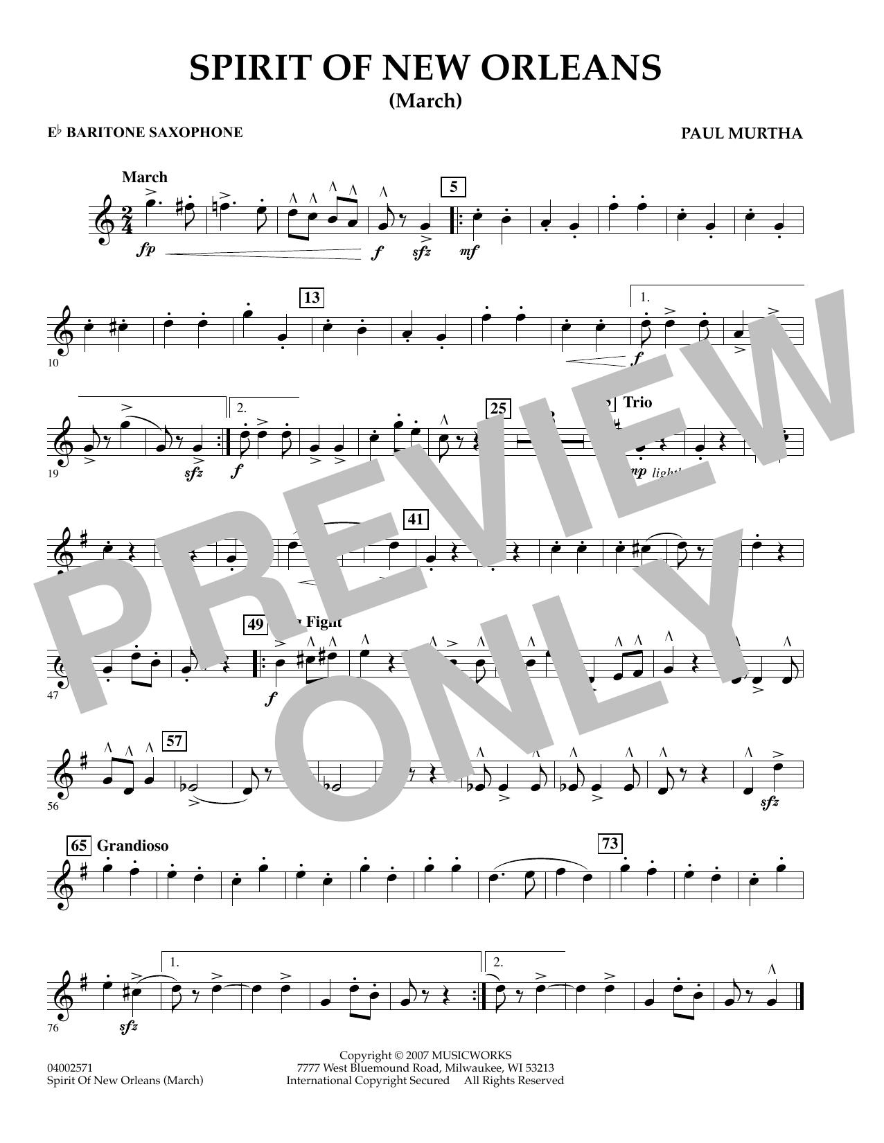 Spirit Of New Orleans (March) - Eb Baritone Saxophone sheet music