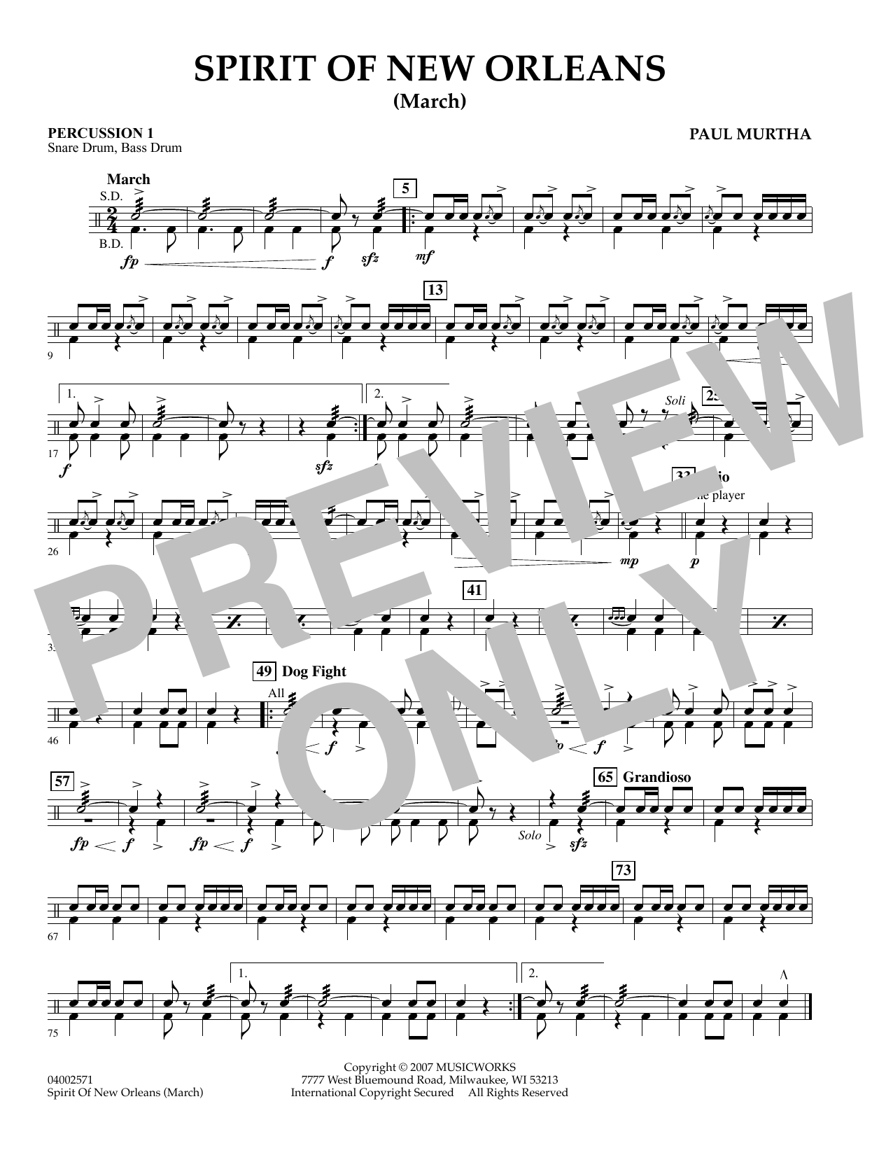 Spirit Of New Orleans (March) - Percussion 1 sheet music