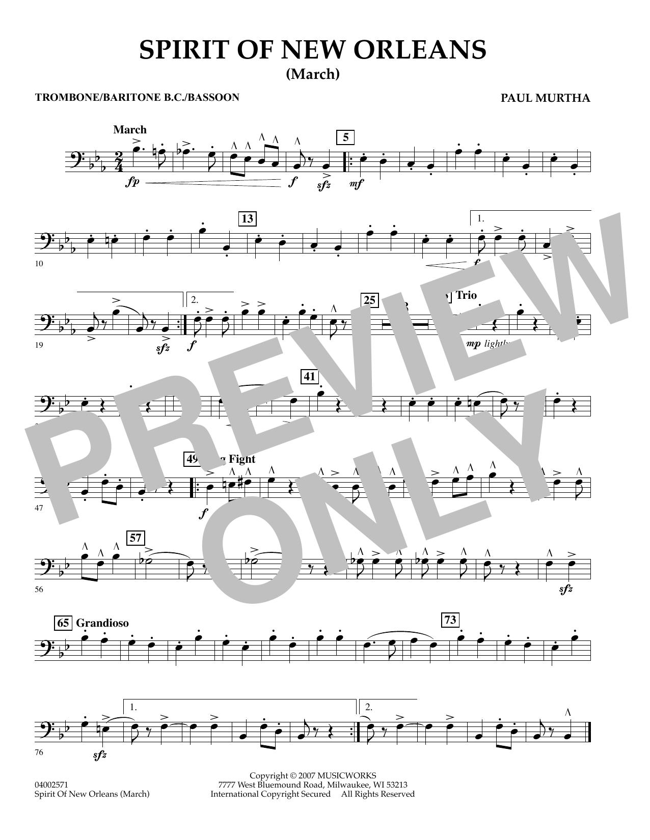 Spirit Of New Orleans (March) - Trombone sheet music
