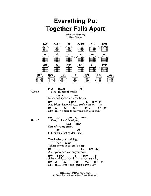 Everything Put Together Falls Apart sheet music