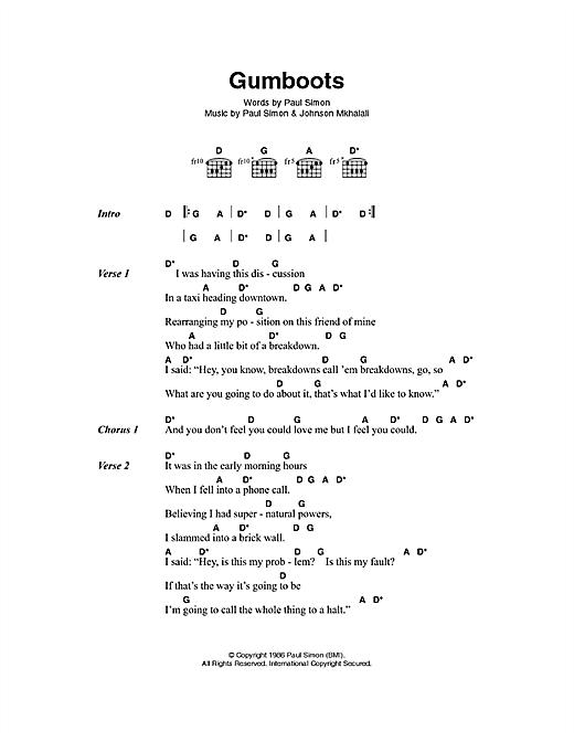 Gumboots sheet music