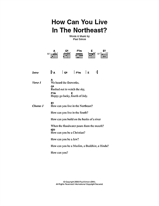 How Can You Live In The Northeast sheet music