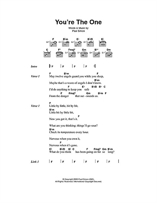 You're The One sheet music