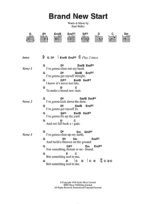 Brand New Start sheet music