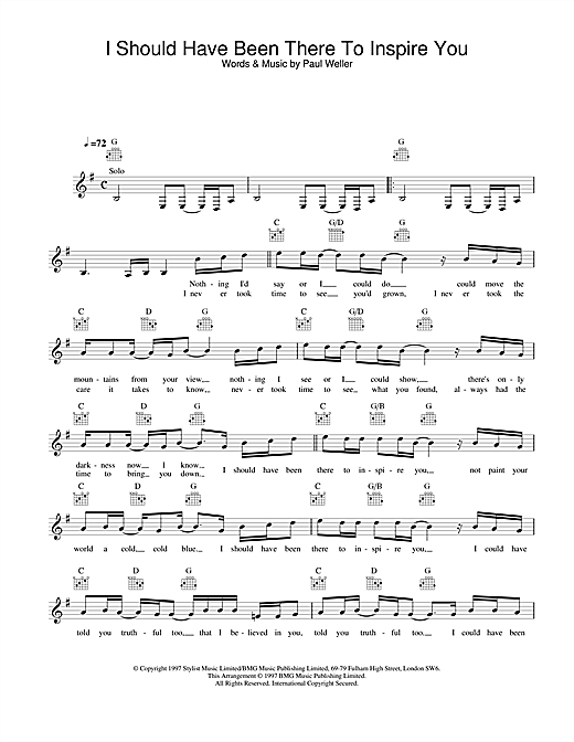 I Should Have Been There To Inspire You sheet music