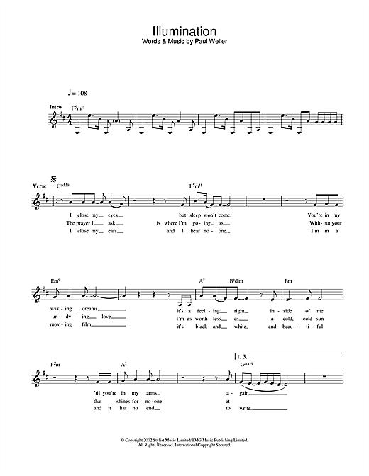 Illumination sheet music