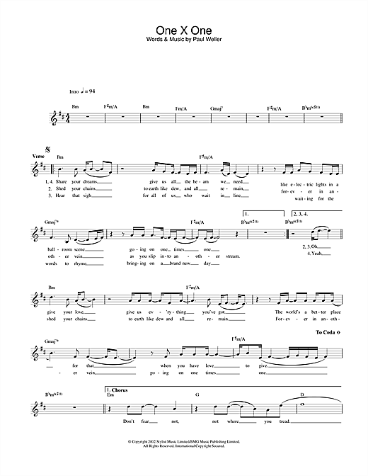 One X One sheet music