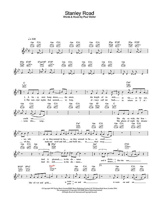 Stanley Road sheet music