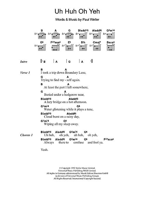 Uh Huh Oh Yeh sheet music