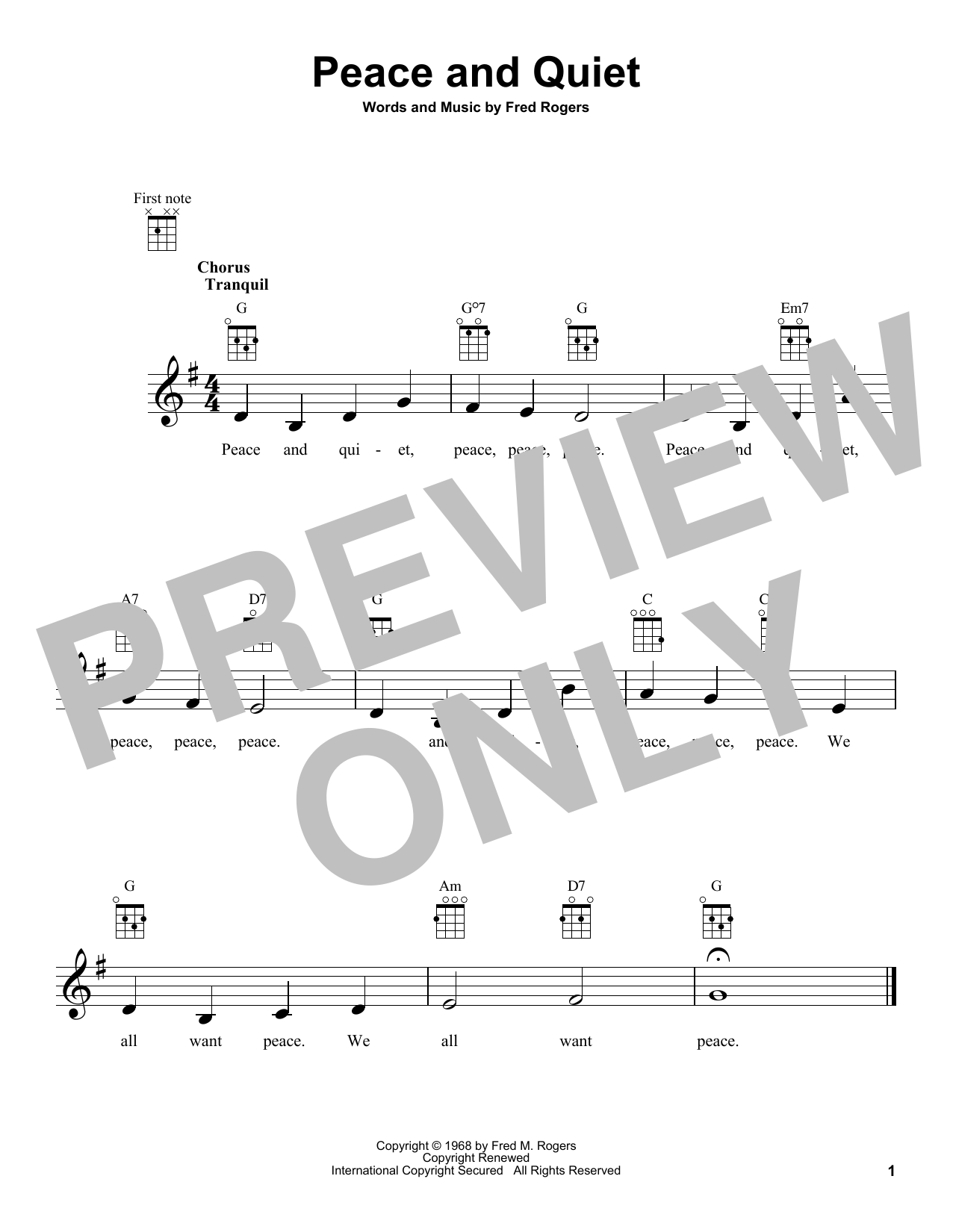 Fred Rogers Peace And Quiet From Mister Rogers Neighborhood Sheet Music Download Pdf Score 431315