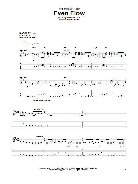 Even Flow sheet music