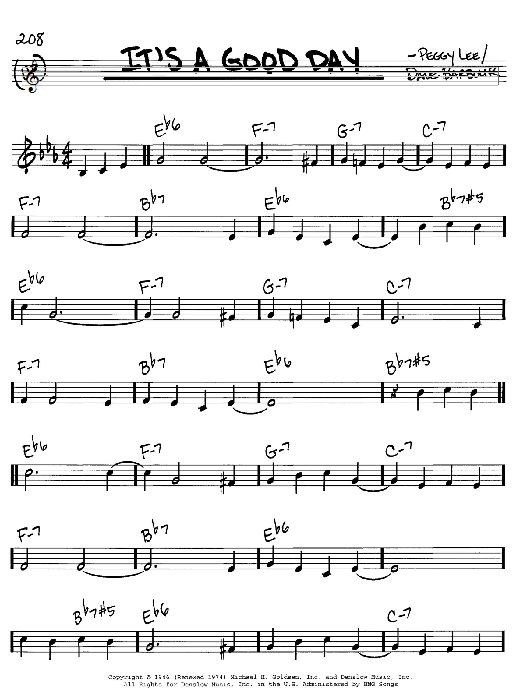 It's A Good Day sheet music