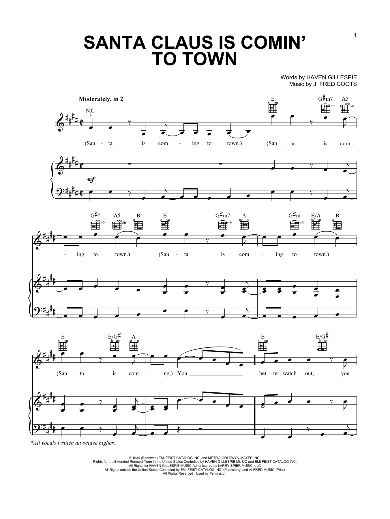 Santa Claus Is Comin' To Town sheet music