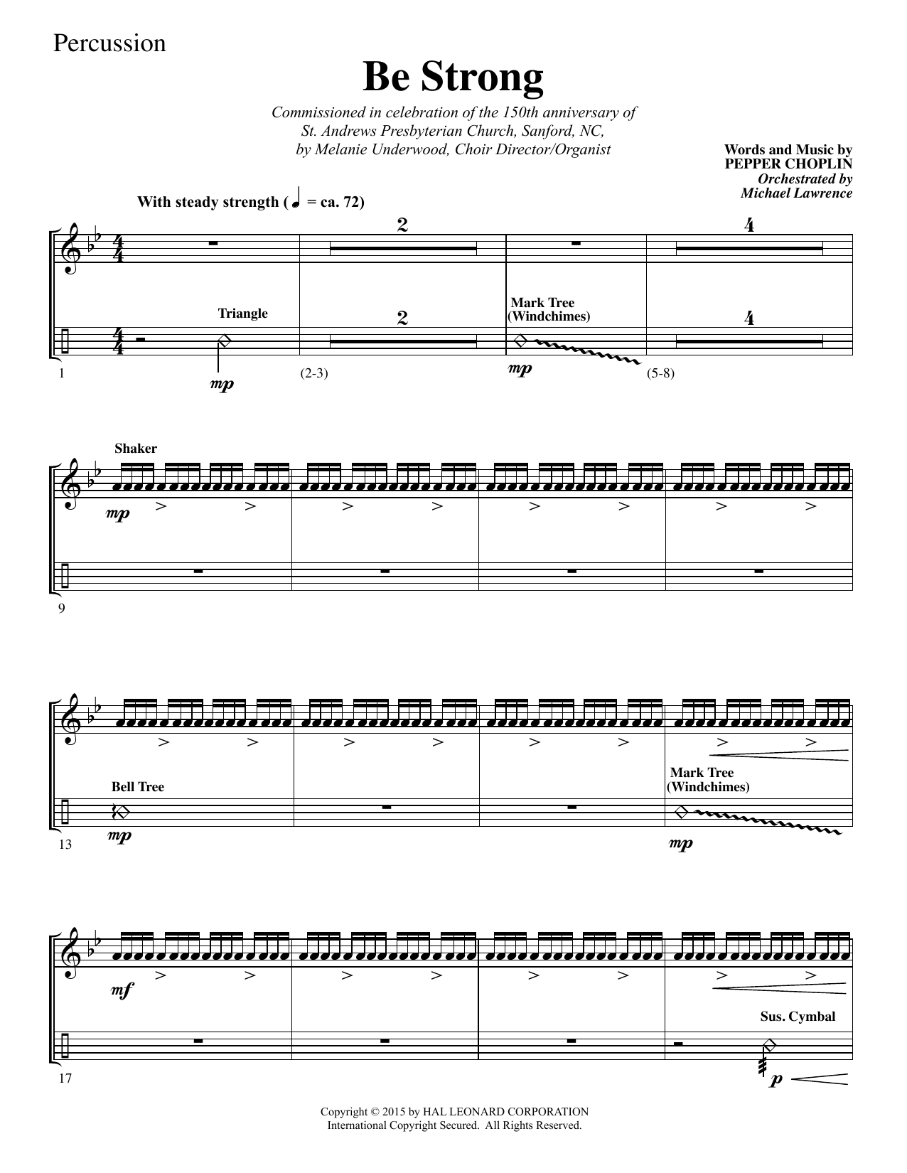 Be Strong - Percussion sheet music