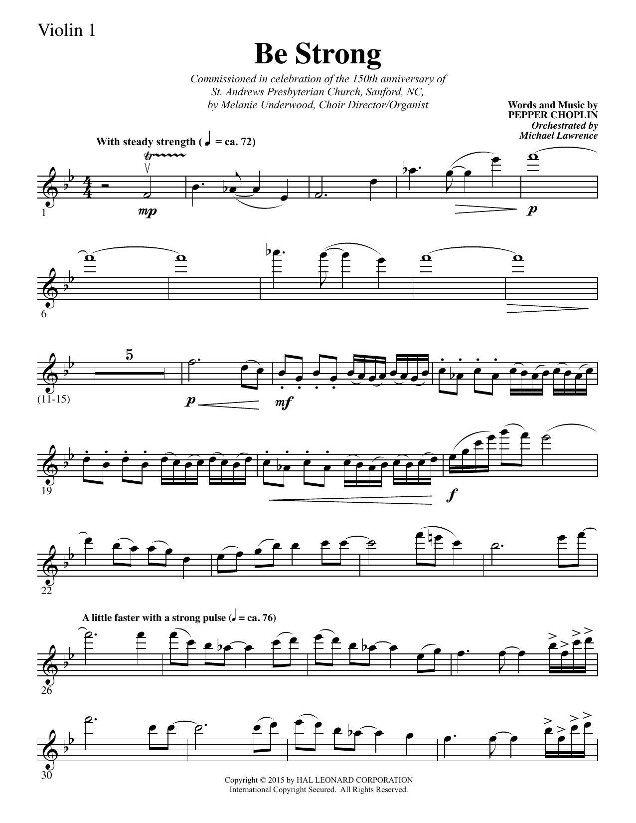 Be Strong - Violin 1 sheet music