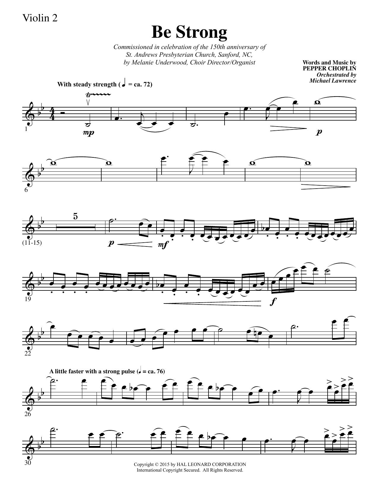 Be Strong - Violin 2 sheet music