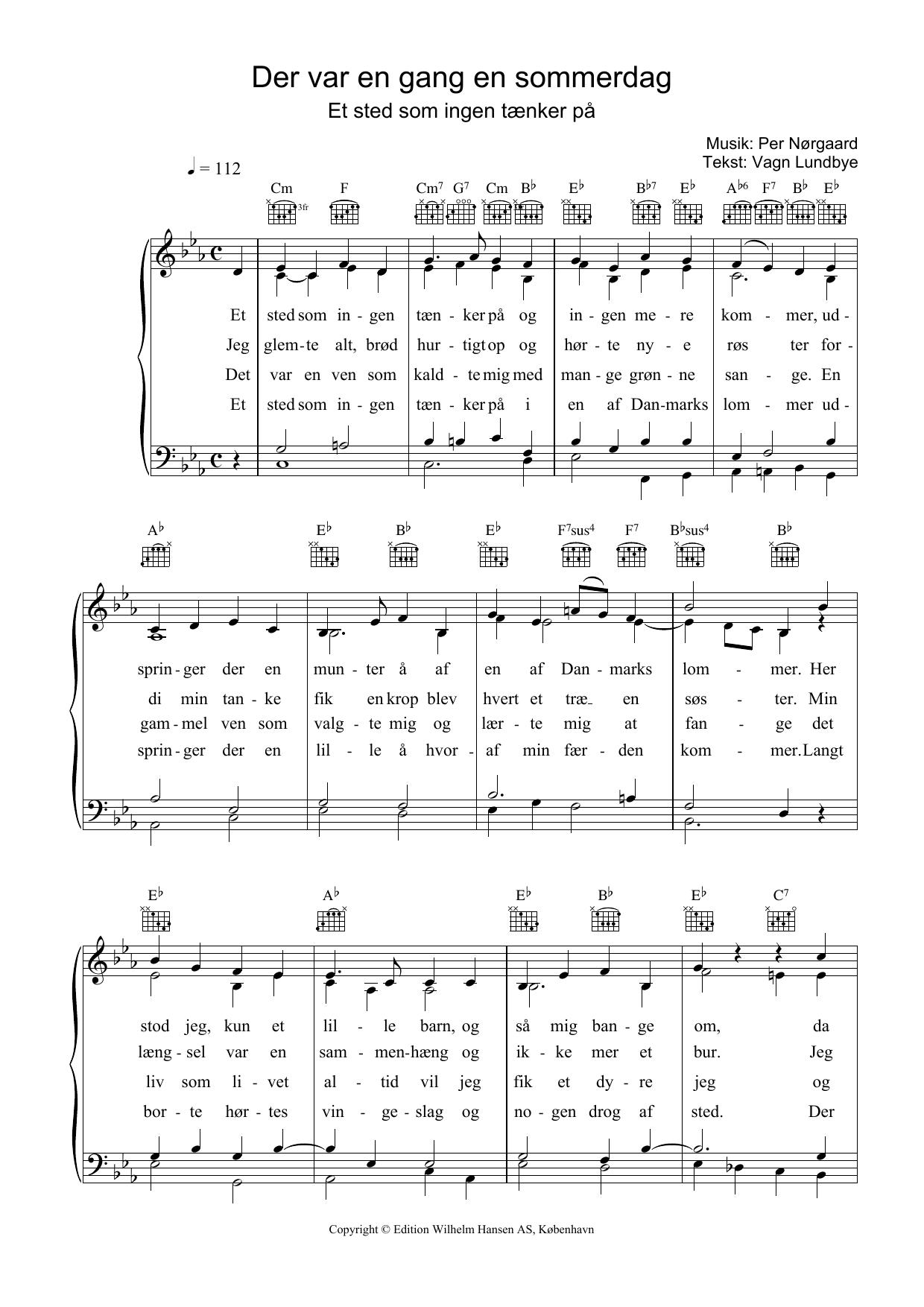 Der Var En Gang En Sommerdag sheet music