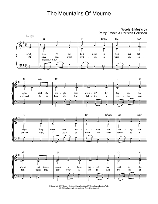 The Mountains Of Mourne sheet music