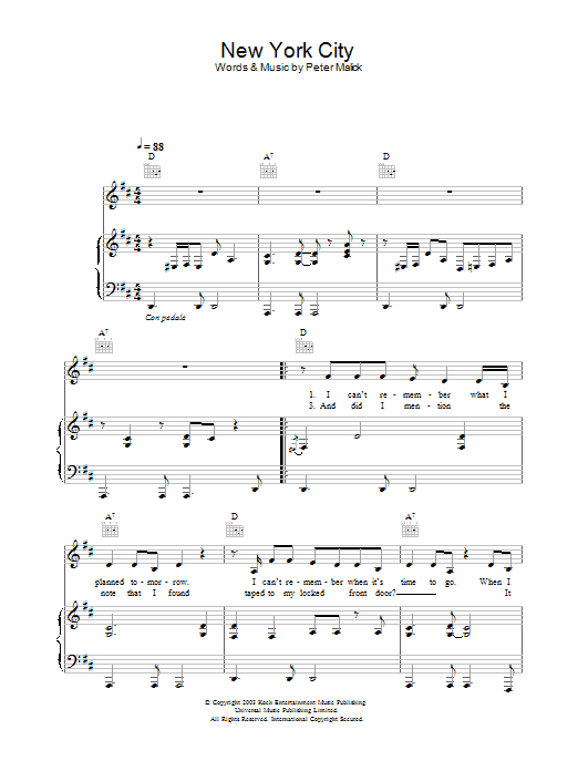 New York City sheet music