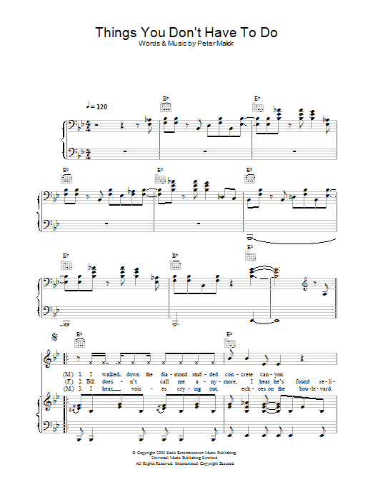 Things You Don't Have To Do sheet music