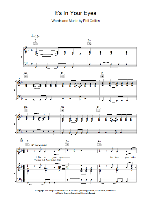 Its In Your Eyes sheet music
