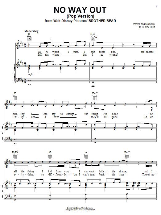 No Way Out (Pop Version) sheet music