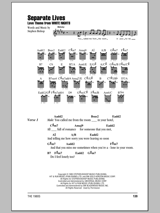 Separate Lives sheet music