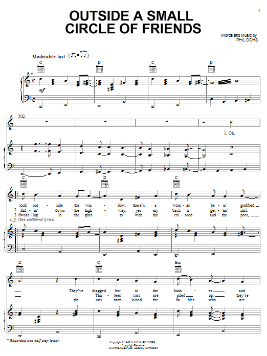 Outside Of A Small Circle Of Friends sheet music