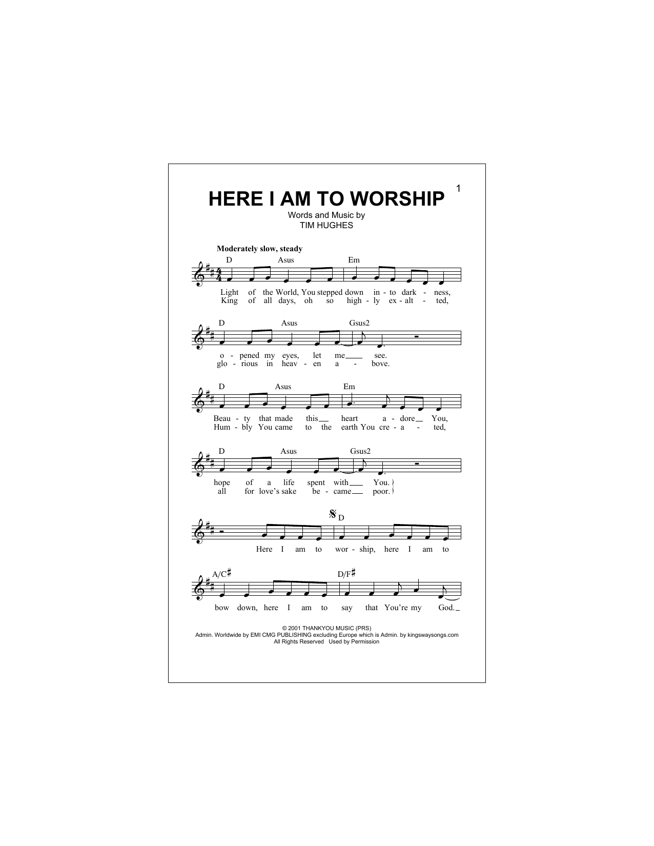 Phillips, Craig & Dean 'Here I Am To Worship Light Of The World' Sheet  Music Notes, Chords   Download Printable Melody Line, Lyrics & Chords    SKU ...
