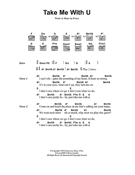 Take Me With U sheet music