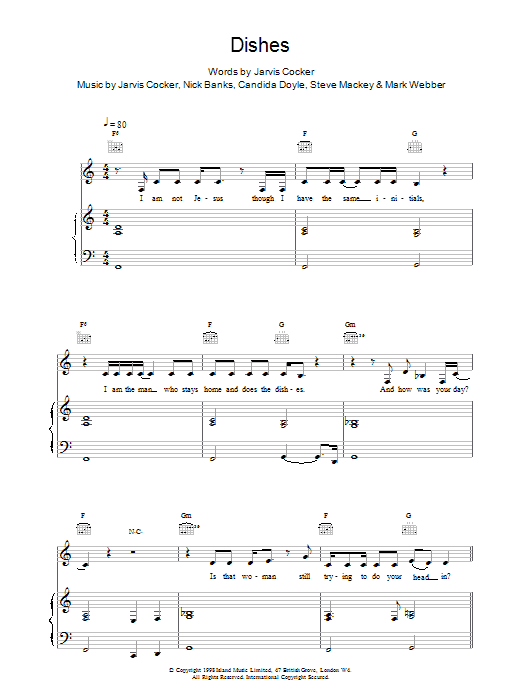 Dishes sheet music