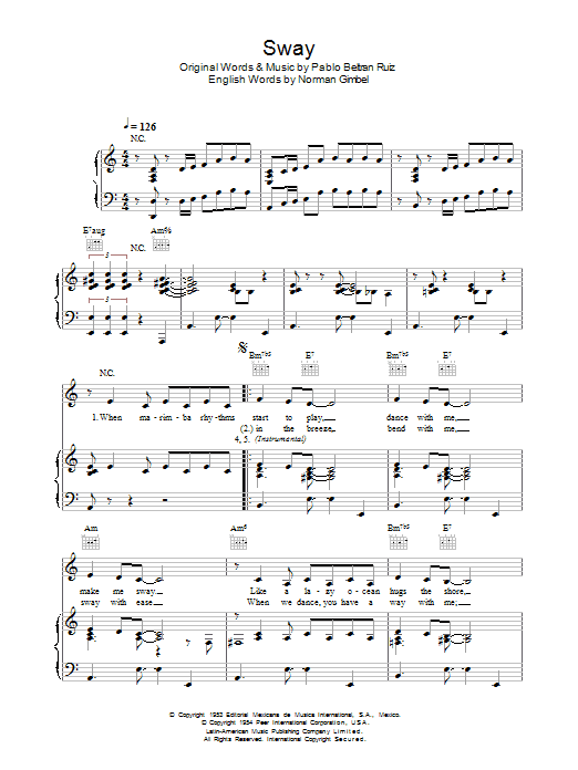 Sway (Quien Sera) sheet music