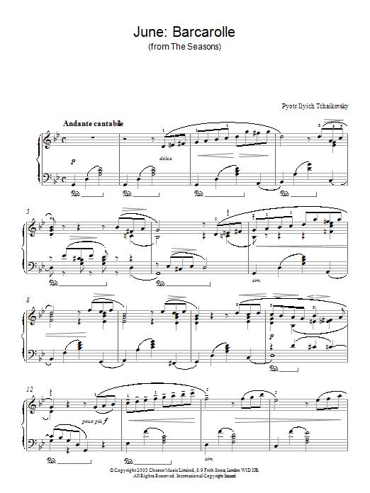June: Barcarolle (from The Seasons) sheet music