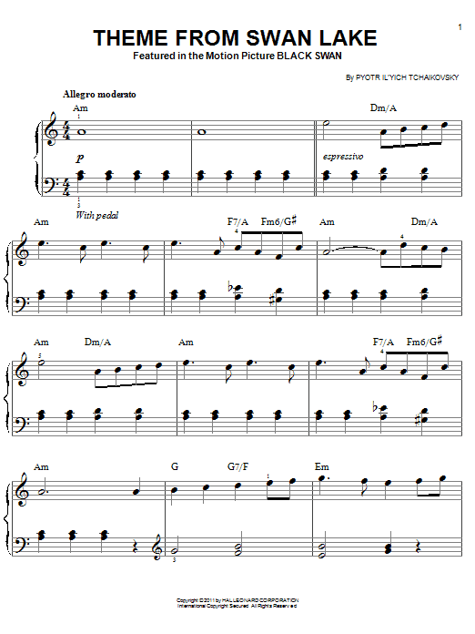 Theme From Swan Lake sheet music