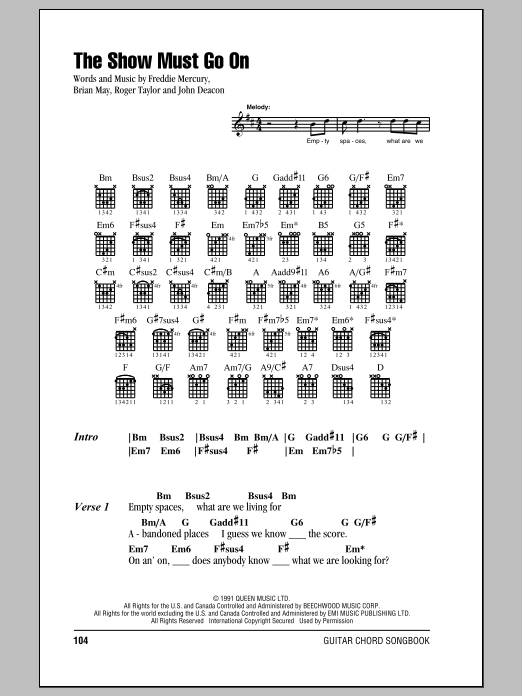 Queen The Show Must Go On Sheet Music Download Pdf Score 415309