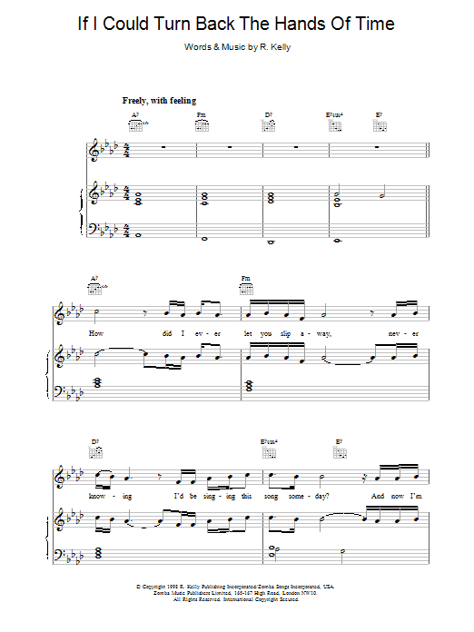If I Could Turn Back The Hands Of Time sheet music