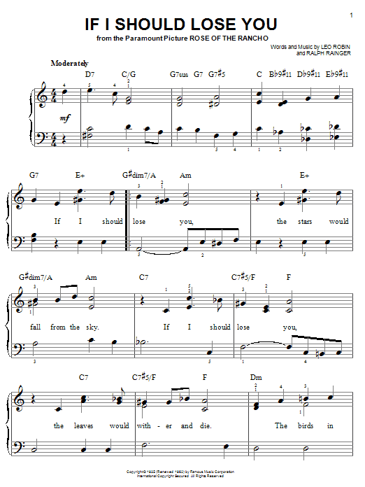 If I Should Lose You sheet music