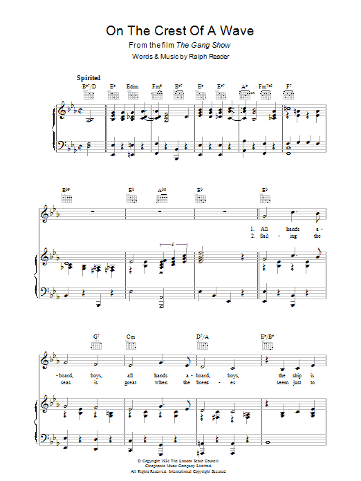 On The Crest Of A Wave (from The Gang Show) sheet music