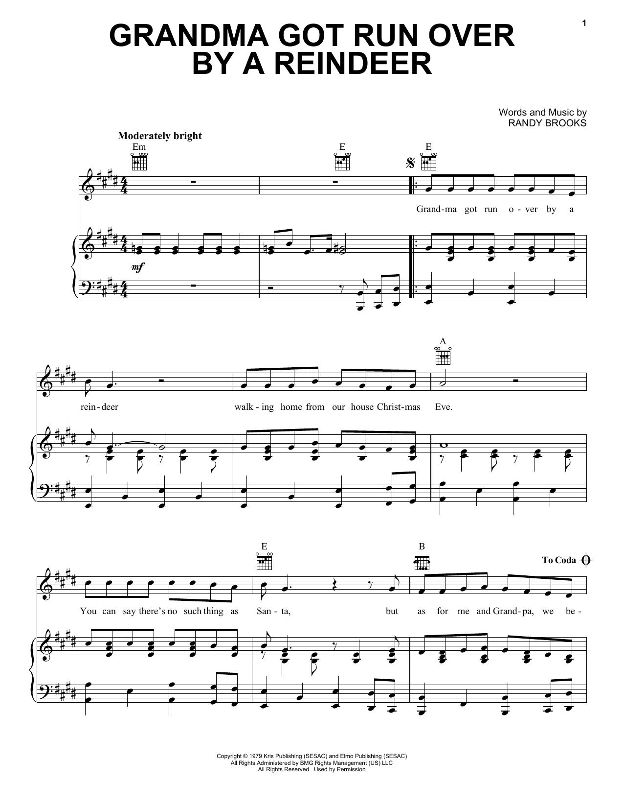 Grandma Got Run Over By A Reindeer sheet music