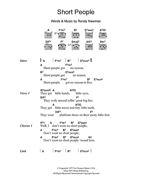 Randy Newman Short People Sheet Music Download Pdf Score 107689