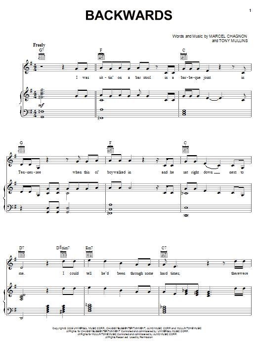 Backwards sheet music