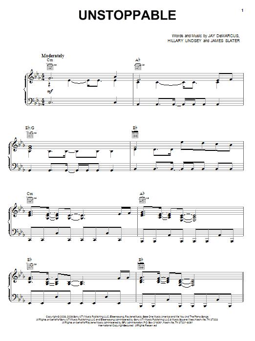Unstoppable sheet music