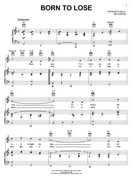 Born To Lose sheet music